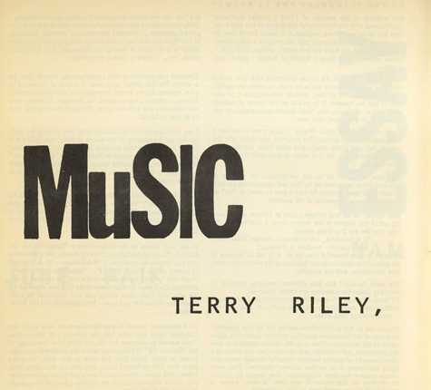 terry riley – music – from an anthology of chance operations, concept art, anti-art, indeterminacy, improvisation, meaningless work, natural disaster, plans of action, mathematics, poetry, essay -1963