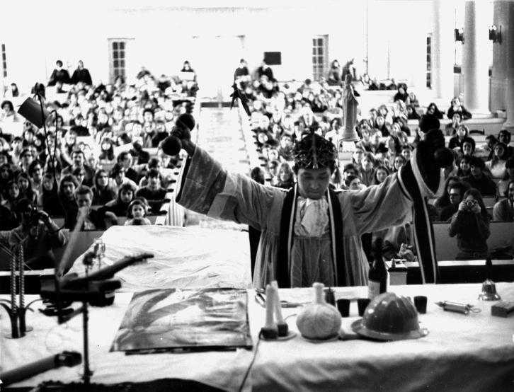 Susan Ryan, Yoshi Wada officiating a Flux-Mass, Feb. 19,1970, Voorhees Chapel, Douglass College, New Brunswick NJ